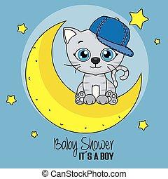漂亮, 貓, 卡通, 月亮