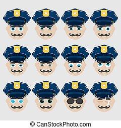 漂亮, 集合, emoticons., 警察