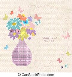 漂亮, 雛菊, 老, 花瓶, 紙, 旗幟, 你, design.