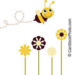 漂亮, 飛行, 被隔离, 蜜蜂, 懷特花