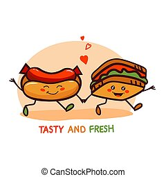 漂亮, 食物, 快, 標識語, 卡通, 圖象