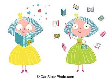漂亮, 魔術, 故事, 書, 仙女, 閱讀, 公主