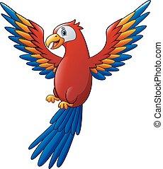 漂亮, 鳥, 卡通, 金剛鸚鵡, 飛行