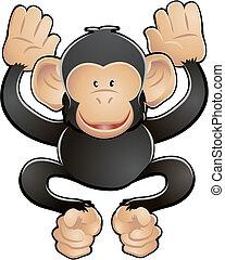 漂亮, 黑猩猩, 插圖, 矢量