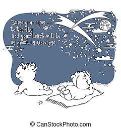 漂亮, sky., 負擔, 插圖, 手, 矢量, 夜晚, 畫