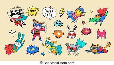 漂亮, superhero, 動物, 手, 矢量, 字符, 畫