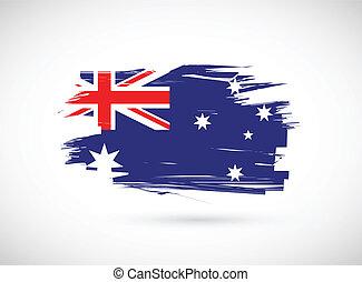 澳大利亞人, grunge, 旗, 插圖, 墨水