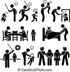 濫用, 孩子, 家庭, pictogram