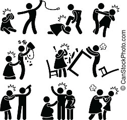 濫用, 男朋友, 丈夫, pictogram