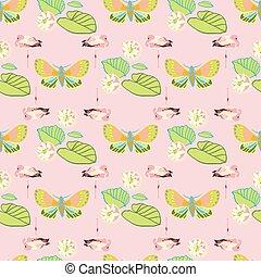 火烈鳥, 叢林, pattern., 外來, 幾何學