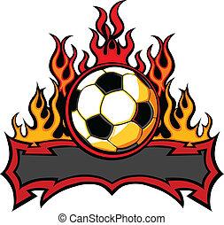 火焰, 樣板, 足球, 矢量