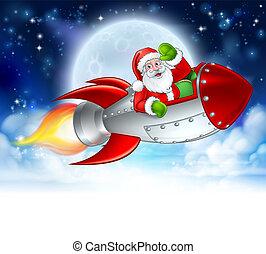 火箭, 克勞斯, 卡通, 聖誕老人, 月亮, 聖誕節