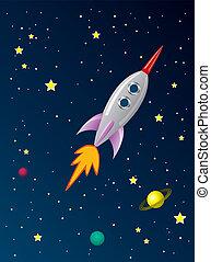 火箭, 空間, 被風格化, 矢量, retro, 船