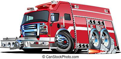 火, 矢量, 卡車, 卡通