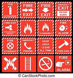 火, 符號, 警報, 矢量, 集合