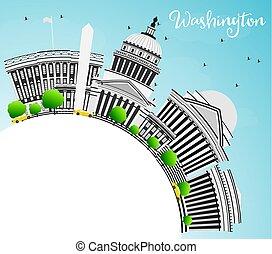 灰色, 建筑物, 華盛頓特區, space., 地平線, 模仿
