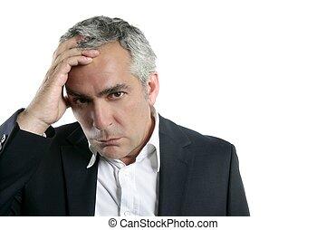 灰色, 擔心, 頭髮, 專門技能, 商人, 年長者, 悲哀