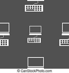 灰色, 電腦監視器, 圖案, seamless, 背景。, 矢量, 鍵盤, icon.