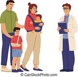 炫耀, 咨詢, patients., 孩子, 醫學, 臨床, 醫生。, 插圖, 矢量, 小兒科, 幫助, 醫學, 人, 成年人, 關心, 家庭