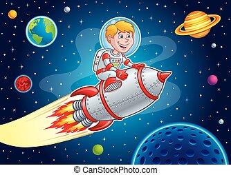 炸毀, 孩子, 透過, 火箭, 空間