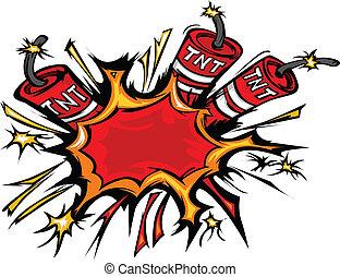 炸藥, 矢量, 爆炸, 卡通