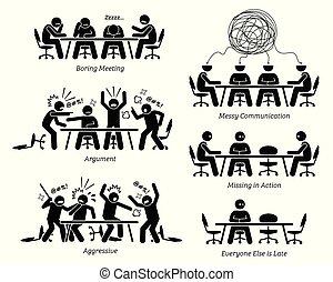 無效率, discussion., 有, 無效, 會議, 執行