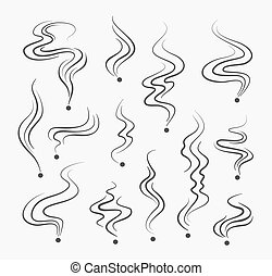 煙, 矢量, 氣味, 抽煙, 簽署, 氣味, 線, 煙, 螺旋, icons.