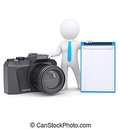 照像機, 3d, 人