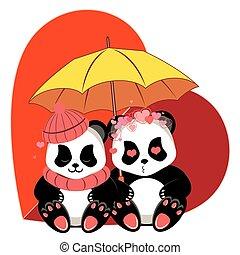 熊貓, 卡通, 心