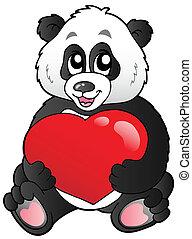 熊貓, 心, 卡通, 紅色, 藏品
