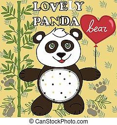 熊貓, heart., 漂亮