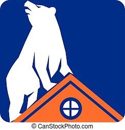 熊, 屋頂, 長方形, retro