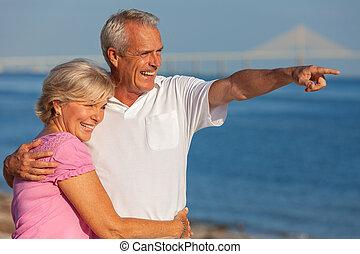 熱帶, 夫婦, 海灘, 年長者, 愉快