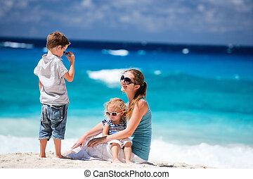 熱帶, 孩子, 海灘, 母親