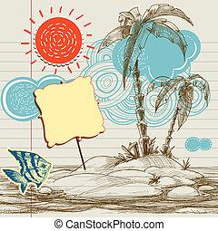 熱帶, 背景, 飛行物, 海, 天堂, 假期