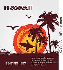熱帶, 衝浪運動員, 海灘, 黑色半面畫像