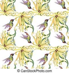熱帶, colibris, 圖案, seamless, 水彩, flowers., 植物, painting.