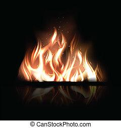 燃燒, 火, 插圖, 矢量, 黑色的背景