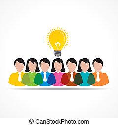 燈泡, 人們, 想法, 隊