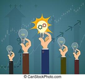 燈泡, 成功, 人們, 光, business., 他們, 握住, hands.