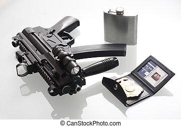 燒瓶, fbi, 槍, 徽章