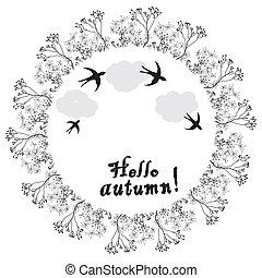 燕子, 黑色, 云霧, 乾燥, 花, 矢量, 環繞, 設計, 框架, 秋天, 被風格化, 白色