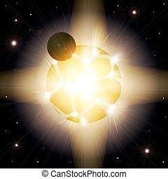 爆炸, 行星, planet., supernova., 空間, 遙遠, 外部, armageddon