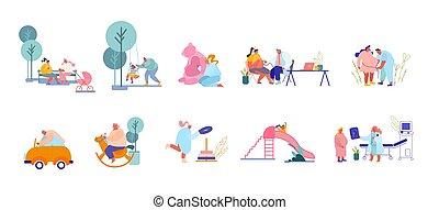 父母, 訪問, 男性, 字符, playground., 醫生, 玩, 準備, 孩子, 集合, 女性, 孩子, 婦女, 誕生