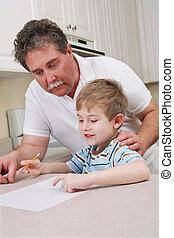 父親, 年輕, 兒子, 幫助, middle aged, 家庭作業