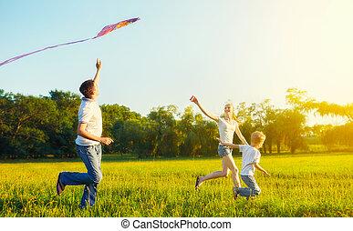 爸爸, 風箏, 夏天, 飛行, 兒子, 媽媽, 孩子, 自然
