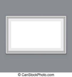 牆框架, 懸挂, 灰色, 矢量, 空白, 白色, template.
