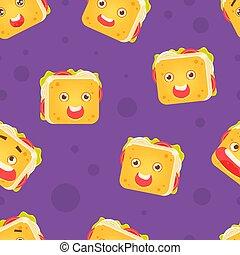 牆紙, 有趣, 三明治, 是, 幼稚, 字, 包裝, 插圖, seamless, 使用, 設計, 圖案, 背景, 微笑, 元素, 矢量, 罐頭
