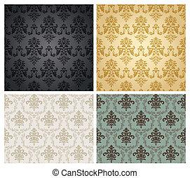 牆紙, pattern., seamless, 緞子