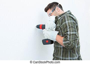牆, 木匠, 機器, 使用, 操練, 白色